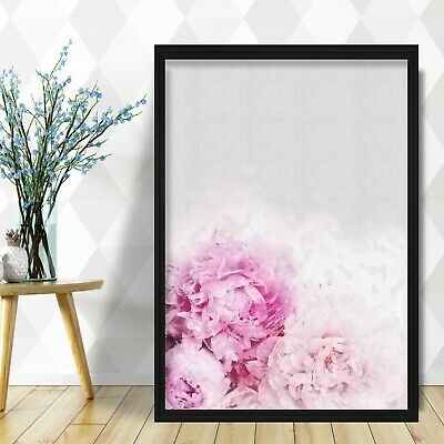 Abstract Navy Blue & BLUSH PINK Peony PEONIES Floral Art PRINT Framed or Poster