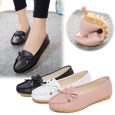 UK Womens Loafers Mocassin Flat Pumps Ladies Silp On Casual Work Boat Shoes Size