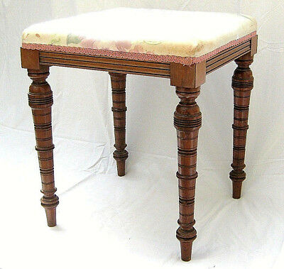 19th century square stool with upholstered seat and turned legs - 16.1/4in. squ.