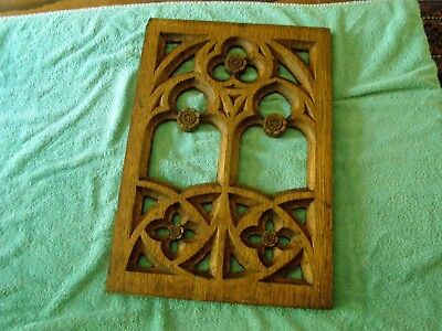 Fancy oak saved piece from an old church, could be from a confessional window