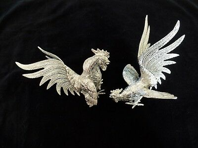 White Bronze Fighting Roosters, Cocks ,mid Century ,very Good Vintage Cond.