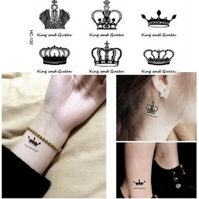 Fashion Tattoo Imperial Crown King And Queen UK