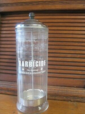 Vintage 1950  King's Barbicide Glass Germicide & Disinfectant Sterilizer Jar