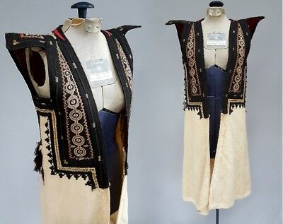 Ornate Greek Macedonian Traditional Costume Vest Overcoat Antique Folk Clothing