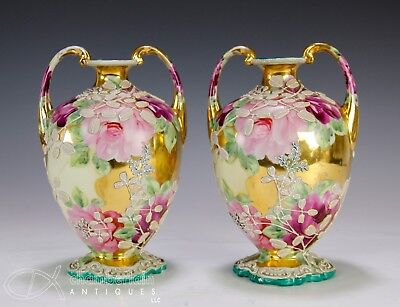 Pair Of Japanese Nippon Moriage Porcelain Vases