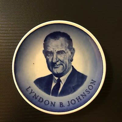 LBJ  President Lyndon B. Johnson  portrait 1963-1969 Royal Copenhagen dish