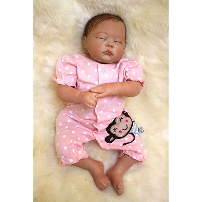 49cm Reborn Baby Handmade Newborn Doll Girl Lifelike Vinyl Silicone with Clothes