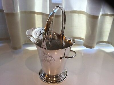 Superb Vintage Yeoman Silver Plated Chased Sugar Scuttle And Sugar Tongs