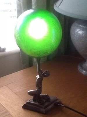 Art Deco Side Table Lamp Green/blue Ball. Believe In Metal Figure Made 2000