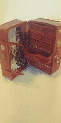 Peggy Taylor Artist Signed Travel Trunk Miniature Doll House