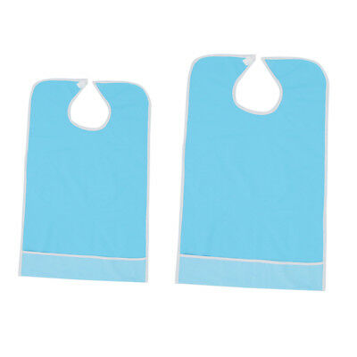 2x Reusable Adult Elderly Mealtime Bib Protector Apron with Crumb Catcher