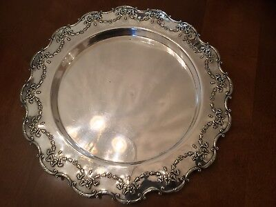 Beautiful Antique Alex Clarke Silver Plated Chased Drinks Tray