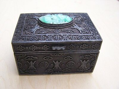Antique Chinese Silver Filigree Box With Fine Apple Jade Carved Insert