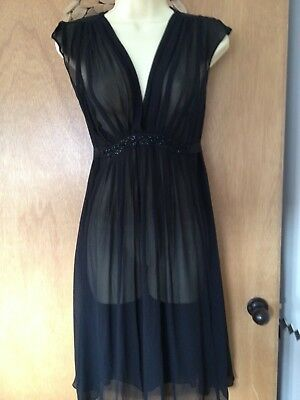 Monsoon Size 12 Sheer Black Dress Very Good Condition