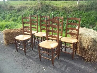 French Country Farmhouse Set Of 6 Oak Antique  Quality Dining Chairs Rush Seats