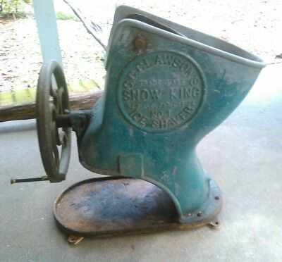Old C.C. Clawson's Snow King Model No.1 Ice Shaver Industrial Soda Shop