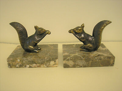 French Art Deco Style Squirrel Spelter/marble Bookends