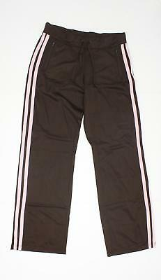 NEW District Threads Womens Junior Fit Track Pants with Zip Pockets Brown M