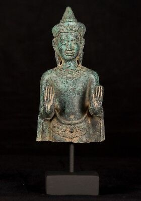 Antique Khmer Style Bronze Double Abhaya Mudra Protection Buddha Statue-24cm/10""