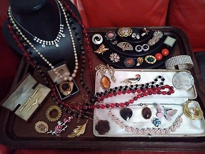 A Lovely collection of Vintage jewellery job lot brooches necklaces earrings etc