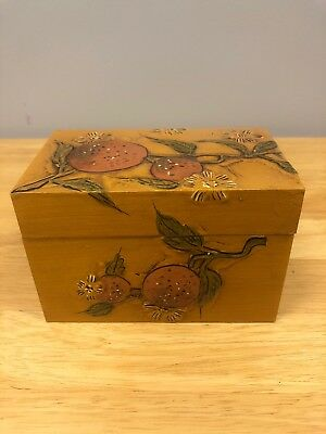 Vintage Fitz and Floyd Yellow Orange Wooden Recipes Box VTG Japan Strawberries