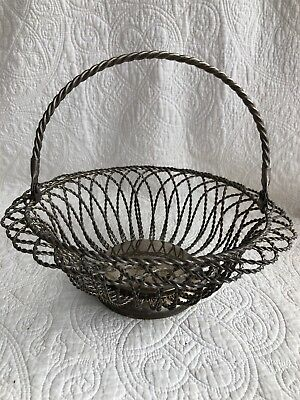Vintage Twisted Wire Silver Plated Bread/Egg/Gathering Basket French Country