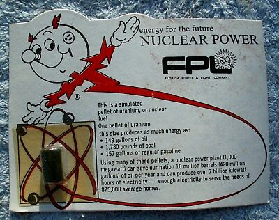 """Vintage Fpl Advertising"""" Rare Nuclear Power Cards With Simulated Uranium Samples"""