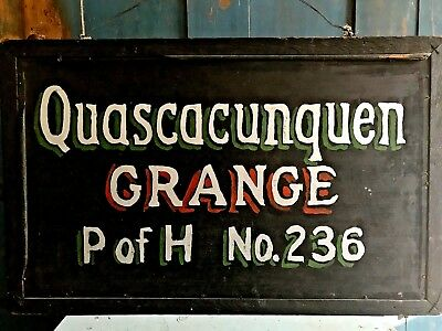 AAFA Folky Vintage Old Wooden New England Grange Hall Sign