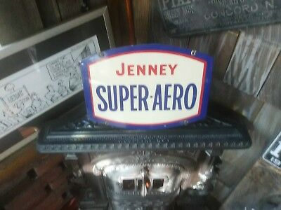 Jenney SUPER AERO Porcelain Gas Pump Sign!! The Real Thing not a repo