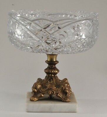 Early 20Th C Antique Cut Clear Glass & Bronze Compote Bowl