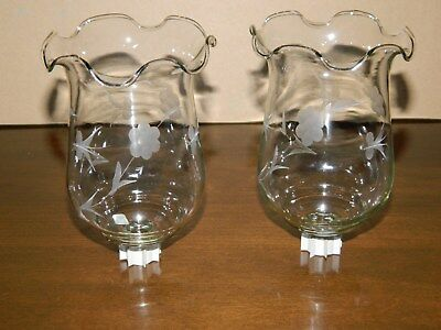 """2 Vtg Home Interior Frosted Floral Fluted Top Votive Cups 5 1/2"""" Tall"""