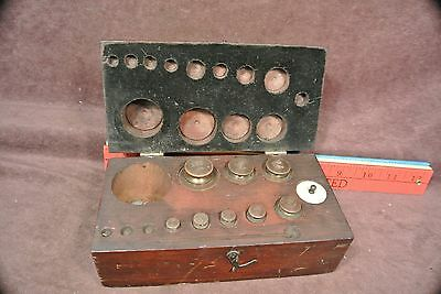 Vintage Scale Weights  Wood Box