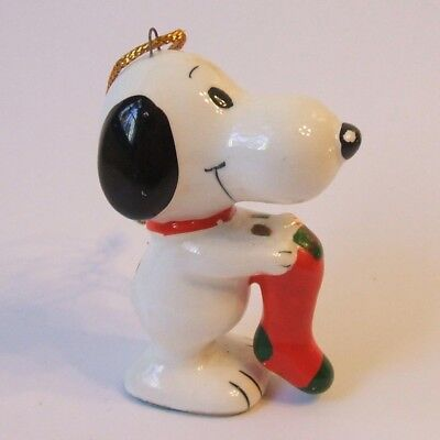 Vintage 1067 Snoopy with Stocking Ceramic Christmas Ornament Determined 1975
