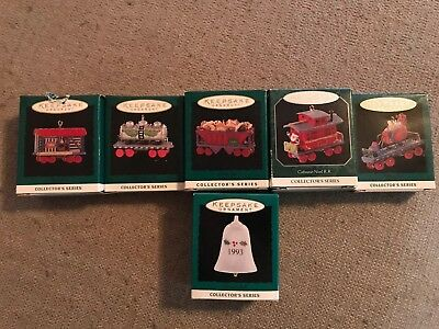 Lot Of 6 Keepsake Ornament Minature Train