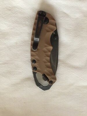 KERSHAW - SHUFFLE II Tan Blackwash lock-blade knife 2 bottle opener.