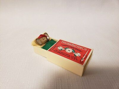 """Vintage 1984 Hallmark Merry Miniature Mouse In Matchbox - """"Happy Holiday"""""""