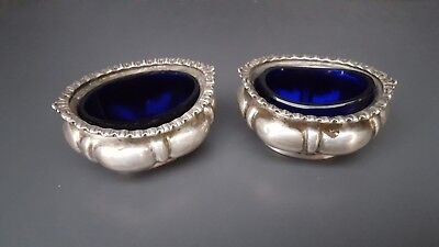 Antique Victorian solid sterling silver mustard conserve pots blue glass liner