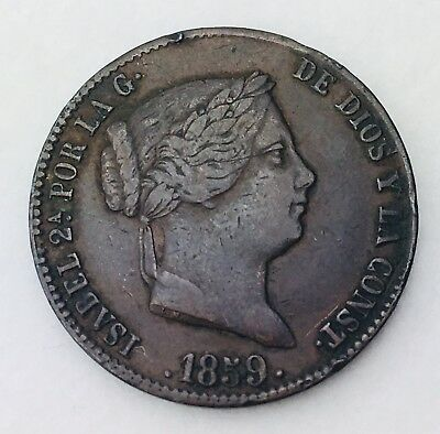 1859 Spain 25 Centimos De Real 25 Cent Spanish Copper Good Grade Coin 0106