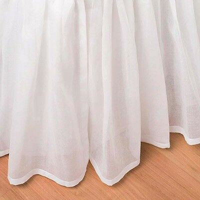 King Bed Skirt White Cotton Voile Sheer Ruffled 15 Drop Dust Ruffle Bedding