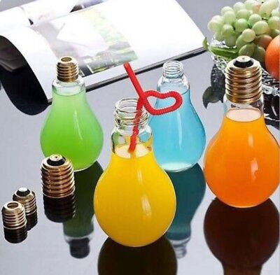 "EXTRA Large LIGHT BULB shape CLEAR GLASS BOTTLE Jar 9"" Tall + Screw on Top Cap"