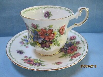 Queen's Rosina Special Flowers Anemone Cup & Saucer Unused