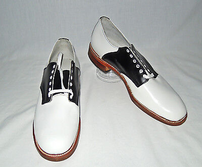 VTG 40s/50s WWII NOS WHITE/BLACK ROCKABILLY SWING DANCE SADDLE SHOES 8 1/2 AA
