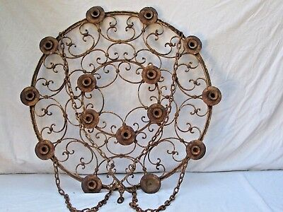 Antique Wrought Iron Candle Chandelier Large Early Spanish