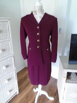 ST. JOHN Collection by Marie Gray Pre-owned 2 Piece Dark Wine Color Suit Size4/6