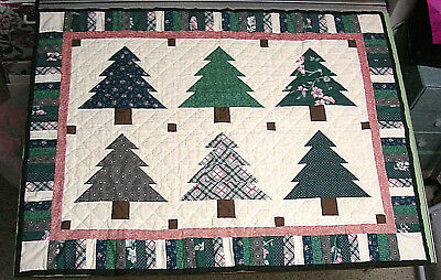 Vintage Handmade Patchwork Quilt Trees Hanging Lap Throw 31X41 Cabin Rustic