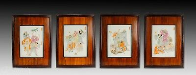 Set Of 4 Chinese Porcelain Tiles Plaques With Figures And Animals