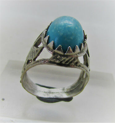Beautiful Post Medieval Silvered Decorated Ring With Blue Stone