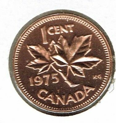 1975 Canadian Proof Like One Cent Elizabeth II Coin!