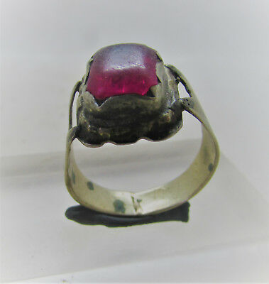 Beautiful Post Medieval Silvered Decorated Ring With Cerise Stone