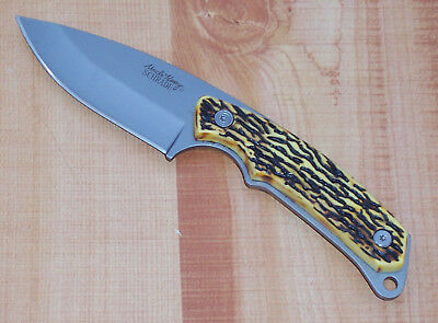 """SCHRADE UNCLE HENRY FIXED BLADE HUNTING KNIFE DELRIN STAG 8"""" OVERALL with SHEATH"""
